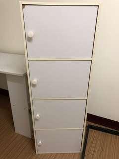 四層附門木櫃收納櫃白色