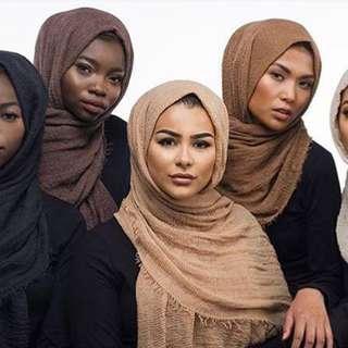 ( INSTOCK ) Elegant Muslim Cotton Scarf Women Hijab