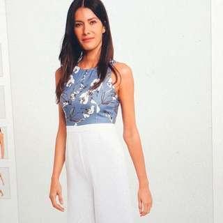 blue & white floral jumpsuit