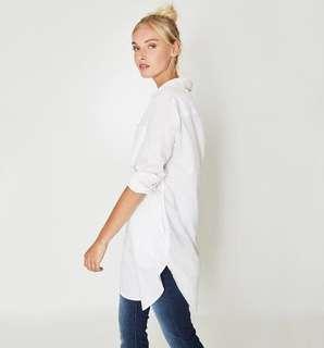 Promode Shirt, long, white , Size 38/ UK 10. Worn once