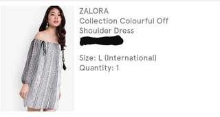Black white gray design off shoulder dress