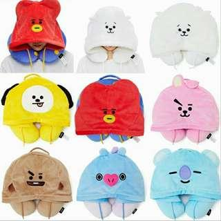 BT21 NECK PILLOW WITH HOODIE [PRE-ORDER]
