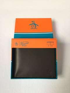 Original Penguin Men's Brown Genuine Leather Color Stitching Edge Bifold Wallet
