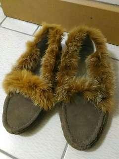 麂皮兔毛豆豆鞋