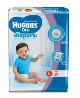 Huggies Dry Diapers ( L size 60 pcs )
