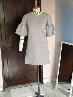 Dress grey bahan super tebal premium