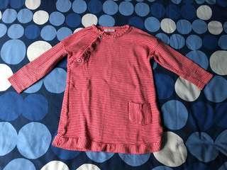 Next baby red striped dress