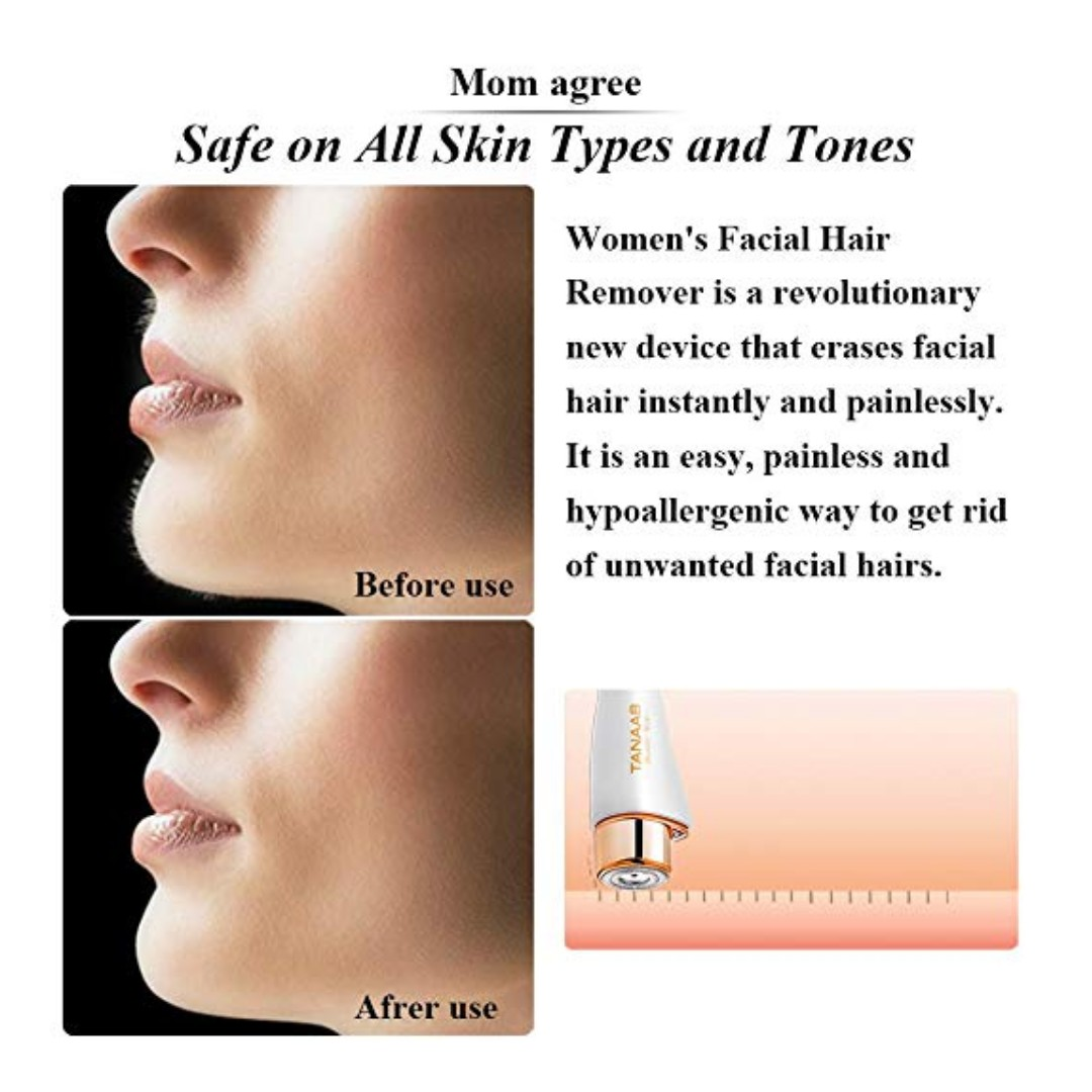 1826 TANAAB Facial Hair Removal for Women Painless Professional Waterproof  Smooth Facial Hair Remover for Face Lips Chin Cheeks Arm Built-in LED Light