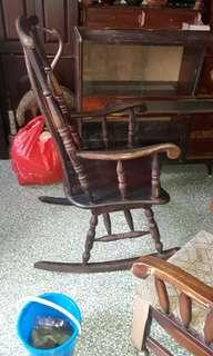 ANTIQUE  WOODEN  ROCKING CHAIR-VIEW TO OFFER YOUR PRICE