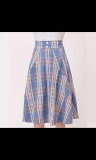 🚚 Home shop 藍迪口袋裙 格紋藍