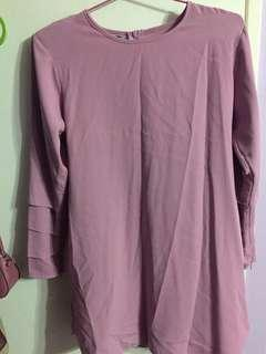Plain tunic blouse in lilac