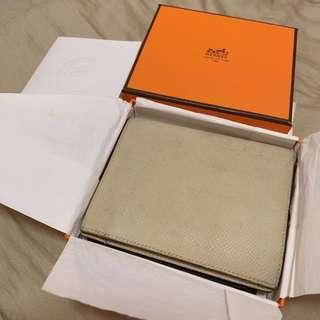 Hermes wallet 米白色全皮銀包