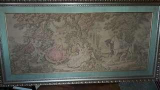 ANTIQUE  - HUGE -?TAPESTRY  'NEEDLE  POINT ART OF EUROPE -1850-1910S