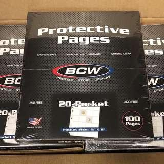 """BCW PVC and Acid Free Archival grade coin album sheet for 20 2"""" x 2"""" coins"""