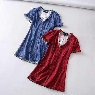 🚚 Red polka dot dress