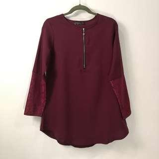 Maroon Blouse Top - New