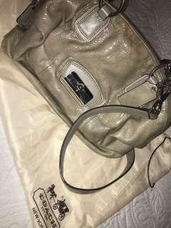 COACH grey patent leather cross-body bag