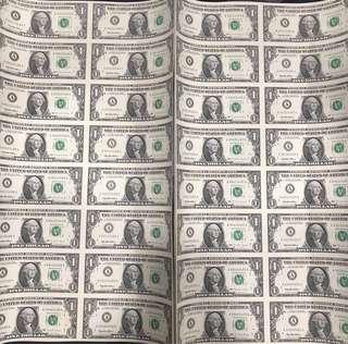 1995 US$1 AA Prefix 🇺🇸 Federal Reserved Note, Uncut Sheet Of 16 in 1 UNC