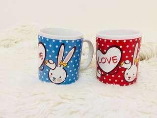 🚚 全新LOVE兔兔馬克對杯組 🐰 咖啡杯  北歐風 情侶杯 🎁☕️背包