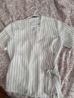Aritzia silk tie blouse