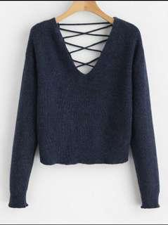 Zaful V back lace up sweater