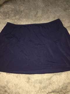 Fit 4 u: dark blue plus size skirted bikini