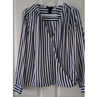 H&M Striped Crossover Style Blouse