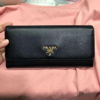 prada black long wallet