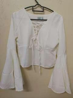 [RS] White Batwing Long Sleeve Top
