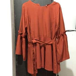 Atasan wanita oranye orange top tied tie flare loose peplum blouse ikat blus oren all size fit to L free size round neck