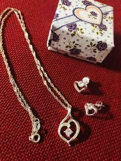 Silver Heart Necklace and Earrings