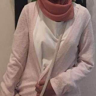 Long Cardigan vintage pink transparent kardigan panjang long sleeve all size fit to L