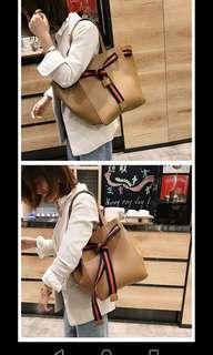 Korean brown summer shoulder bag tote shopper