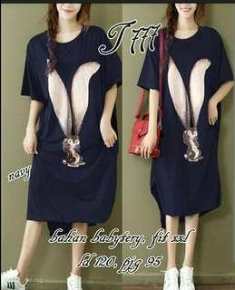 JUMBO RABBIT BERRY TO NAVY, fit to XXL #big dress jumbo wanita