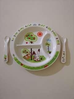 🚚 Baby Feeding Set - Philips Avent Divider Plate with fork and spoon