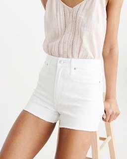 white high waisted denim shorts