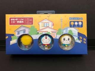 叮噹 叮嚀 銅鈴 Doraemon 多啦A夢 三合一 USB cable