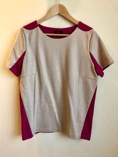 🇰🇷 Korean Women Pink & Beige Short-Sleeve Top