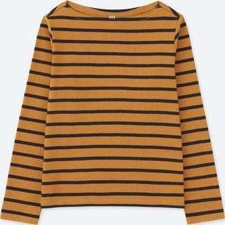 🚚 Uniqlo 駝色 船型領 長袖 短版上衣 #一百均價