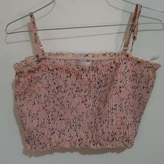 Cute floeal pink crop top