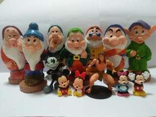 7 dwarfs(13cm-14cm high) & cute figurines(all for $15)