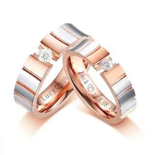 🚚 [SALES]👫PERSONALIZED | CUSTOMIZED | ENGRAVING ROSE GOLD STAINLESS STEEL COUPLE CZ WEDDING RING BAND BIJOUX COUPLE ANNIVERSARY GIFT | ENGAGEMENT GIFT | COUPLE JEWELRY👫