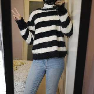 H&M Fuzzy Black and White Stripes Sweater