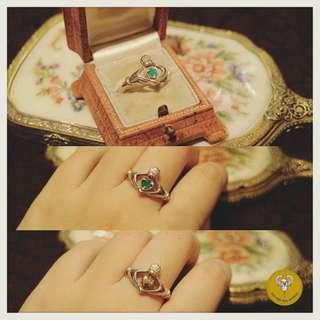80年代純銀人造綠寶石轉動心形Claddagh ring 克拉達戒指