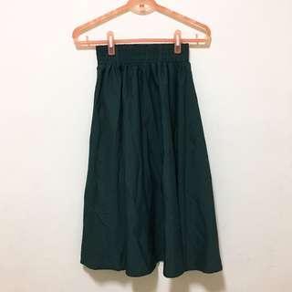 🚚 深綠色鬆緊帶輕飄飄長裙