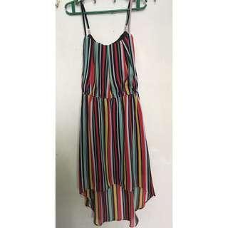 Striped Spaghetti strap semi-formal dress