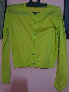 Cardigan hijau stabilo