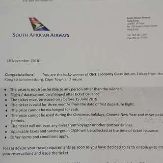 半價 南非航空 往返 機票兩張  Two Half Price South Africa Airways Return Air Tickets
