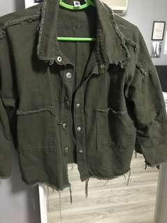 Army Green ripped denim jacket
