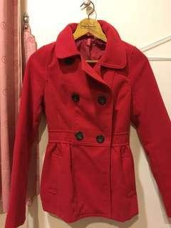H&M紅色合身大衣